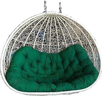 SK Furniture Wicker 2 Seater Swing Hanging Chair for Outdoor/Balcony/Garden/Indoor (Off White, Standard)
