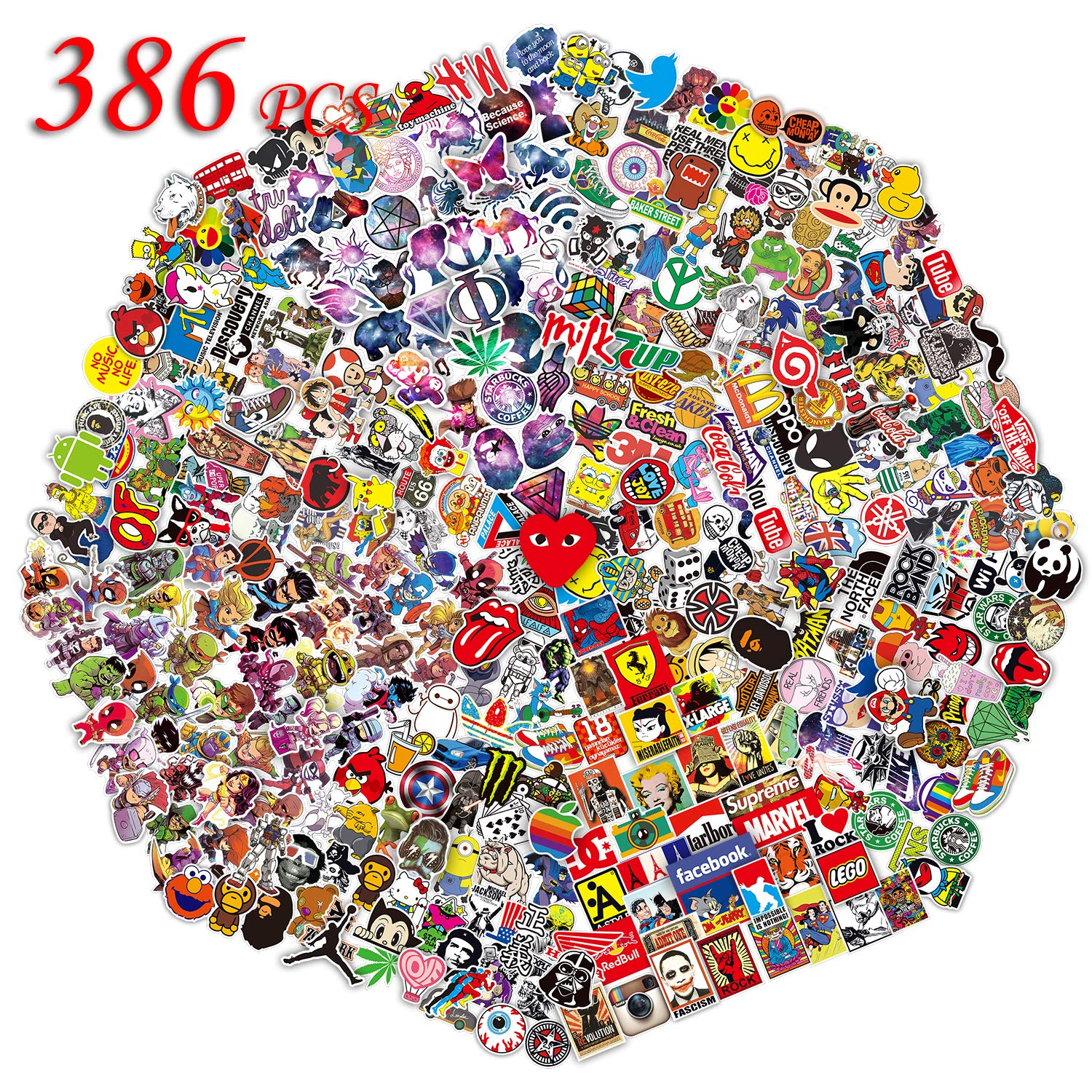QWDDECO Sticker Pack (386-pcs) Vinyl Kawaii Decal Stickers for Laptop,Luggage,Wall,Skateboard,Bike,PS4,Xbox one,Iphone,Car-Party Favors for Kids,Adults,Teens,Boys and Girls-Graffiti Decals -Waterproof