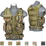 Lancer Tactical 600D Urban Assault Modular Cross Draw Pistol Holster and Rifle Magazine Pouch Tactical Vest Adjustable Belt Quick Release Buckle Accessory Pouches (DIGI MARPAT, REGULAR)