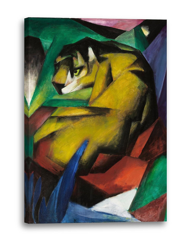 Franz Marc - Der Tiger (1912), 80 x 120 cm (weitere Größen verfügbar), Leinwand auf Keilrahmen gespannt und fertig zum Aufhängen, hochwertiger Kunstdruck aus deutscher Produktion (Alte Meister bis Moderne Kunst). Stil  Abstrakte Maler