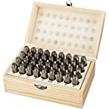 AmazonBasics Metal Alphabet And Number Stamp Kit Tools Set With Wood Box - 5/16 Inch