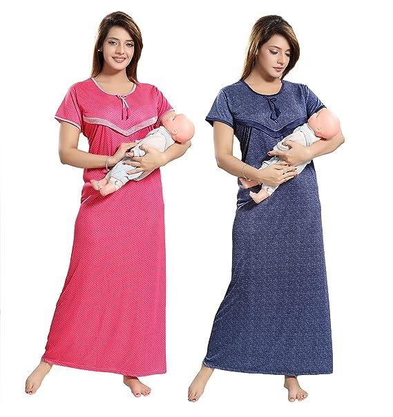 TUCUTE Women Beautiful Polka Dotts Print + Denim Base Print with V Pattern  Feeding Maternity Nursing Nighty Night Gown Night Dress Nightwear (Free  Size) ... 5f7613374