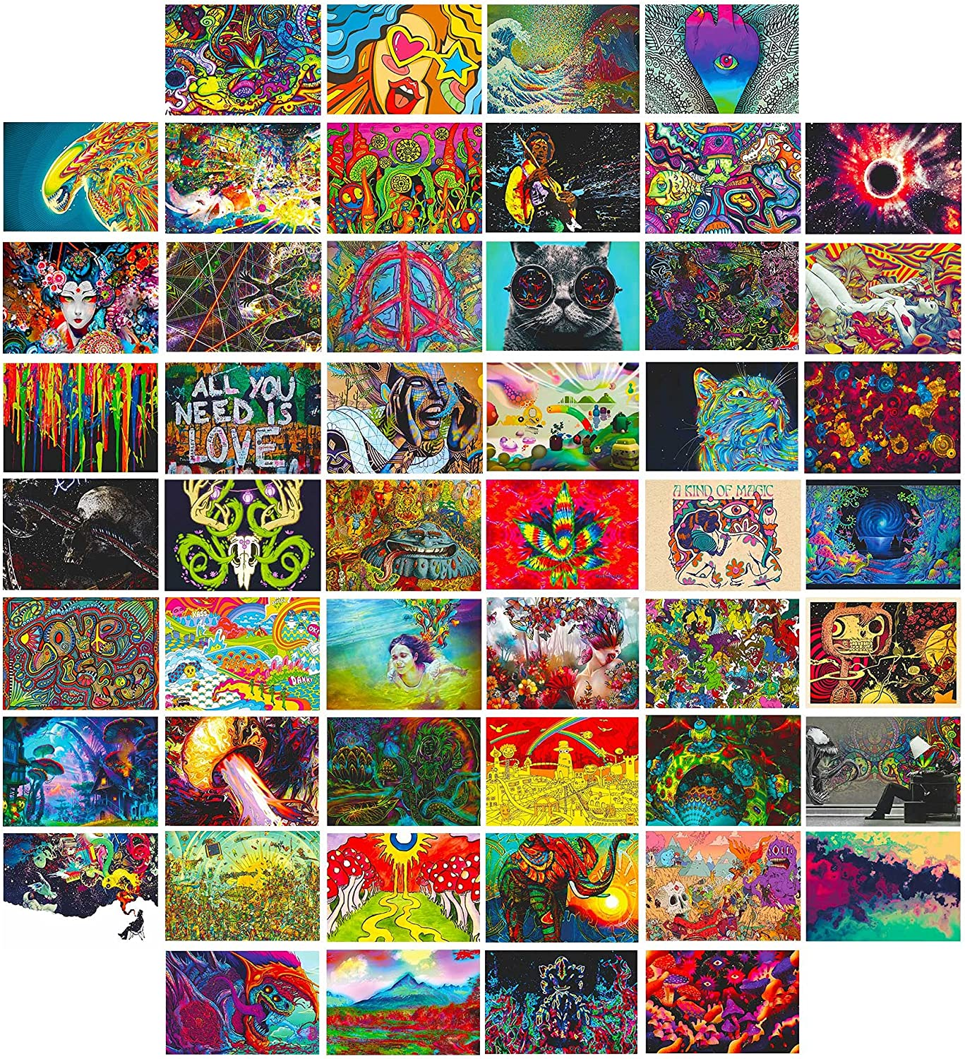 Hippie Trippy Drippy Wall Images Aesthetic Wall Collage Kit Aesthetic Pictures Vintage, Trippy Hippie Room Decor, Retro Room Decor For Girls Boys, Trendy Small Posters For Dorm Decor, Bedroom Decor For Teen Girl