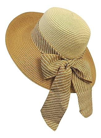 New Retro Wide Brim Raffia Stripy Bow Summer Sun Hat 1920 s 30 s 1940 s  Style 45bcd27531a7