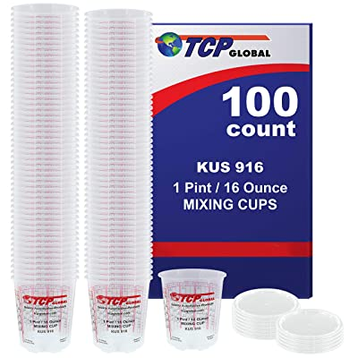 (Full Case of 100 each - Pint (16oz) PAINT MIXING CUPS) by Custom Shop - Cups have calibrated mixing ratios on side of cup BOX OF 100 Cups: Kitchen & Dining