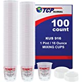(Full Case of 100 each - Pint (16oz) PAINT MIXING CUPS) by Custom Shop - Cups have calibrated mixing ratios on side of cup BOX OF 100 Cups