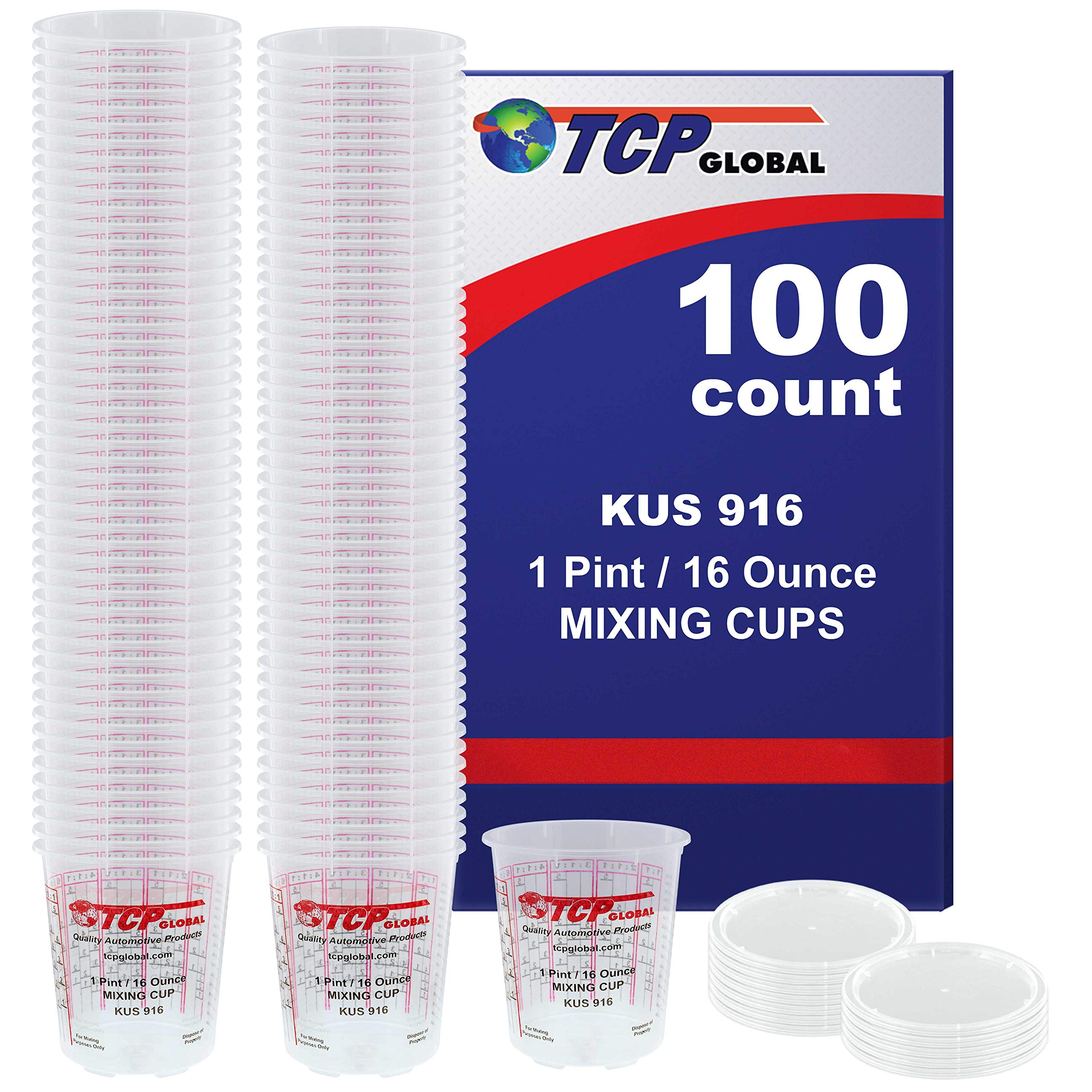 (Full Case of 100 each - Pint (16oz) PAINT MIXING CUPS) by Custom Shop - Cups have calibrated mixing ratios on side of cup BOX OF 100 Cups by Custom Shop