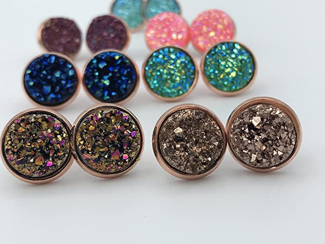 681090826 Amazon.com: Druzy Stud Earrings, in rose gold, Gold or Silver: Handmade