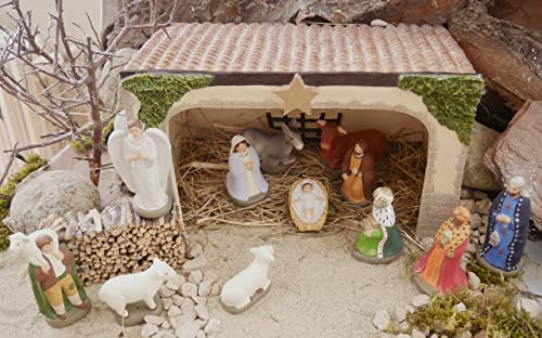Nativity Scene, Stable 12 Clay Figurines, Jesus Mary Joseph Ox Donkey Angel Shepherd 2 Sheep 3 Wise Men – Traditional Hand-Painted Christmas Heirloom in Deluxe Custom Storage Box – Designed in France