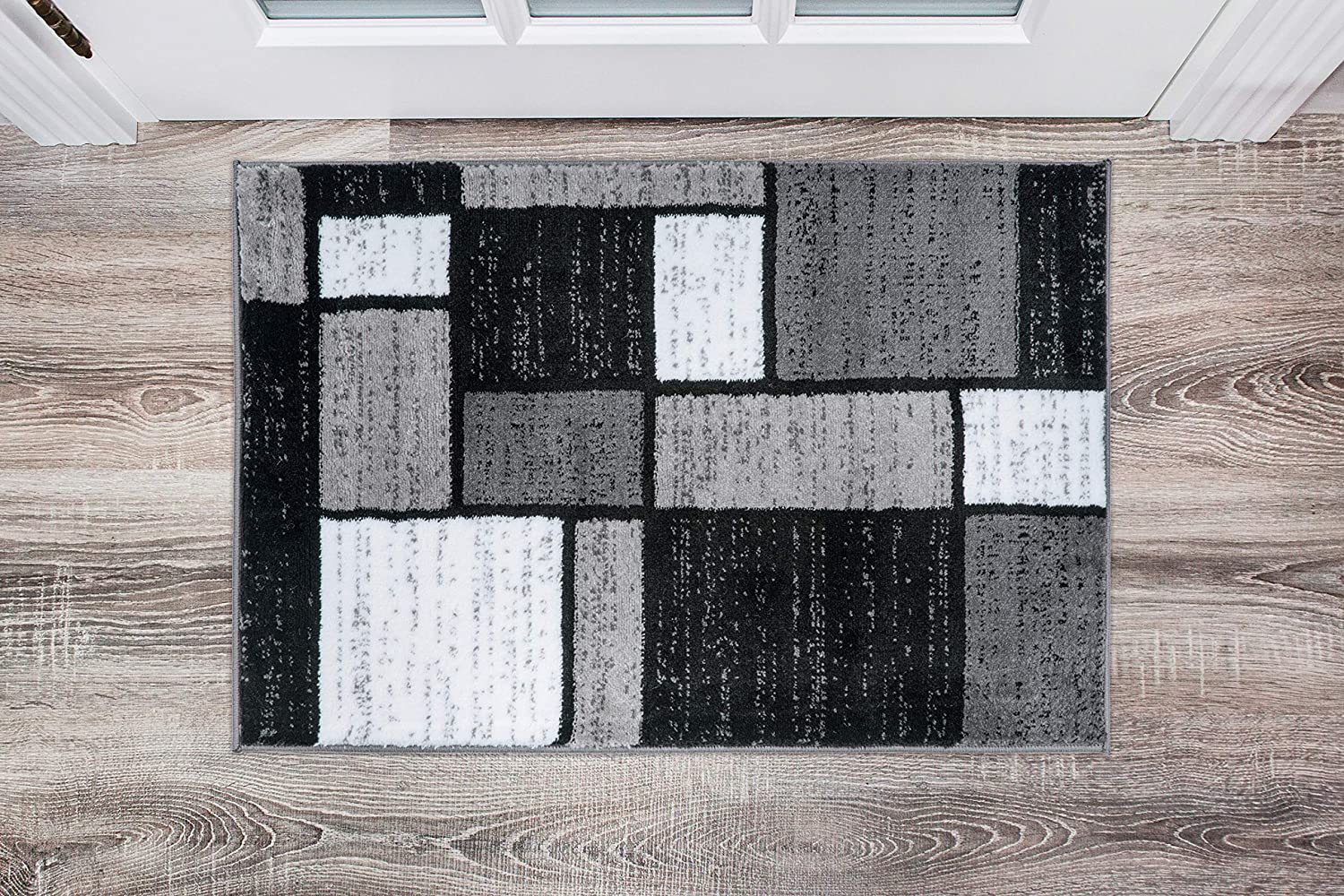 Contemporary Modern Boxes Area Rug 2' x 3' Gray