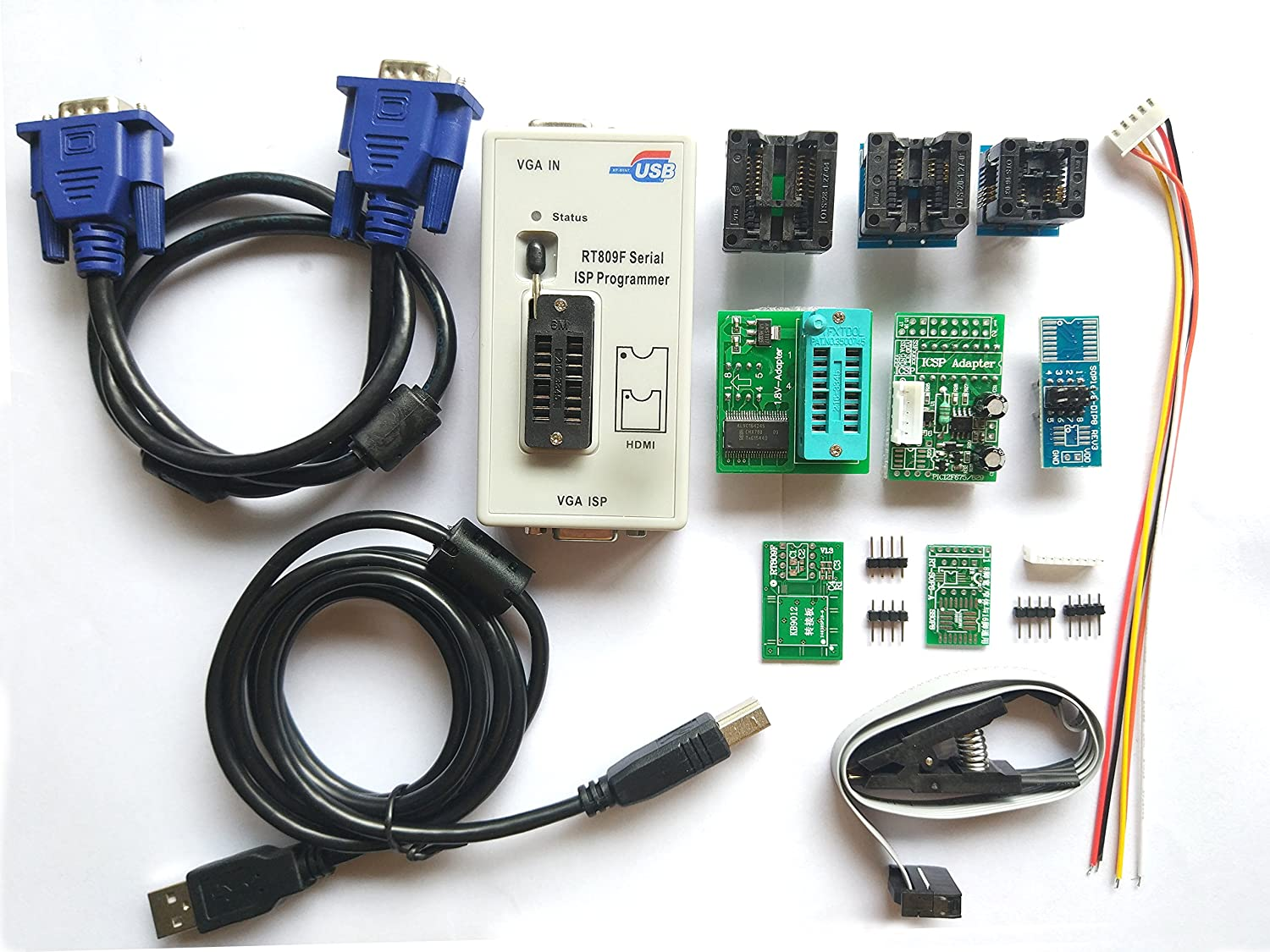 Amazon com: SETCTOP RT809F programmer + 8 Adapters + IC clip clamp +