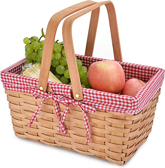 Country Picnic Basket with Red//White Gingham Liner Gonioa Woven Picnic Basket with Double Folding Handles Storage of Bath Toy Kids Toy Plastic Easter Eggs Candy Gift Wedding Baskets