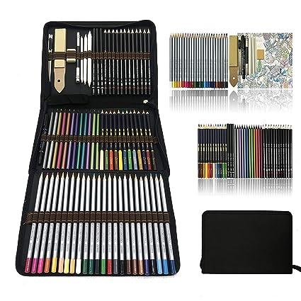 Profesional Lápices de colores Conjunto de Dibujo Artístico,lapiz dibujo y Bosquejo Material Set,Incluye lápices metálicos,acuarelables,carbón,Lápices ...