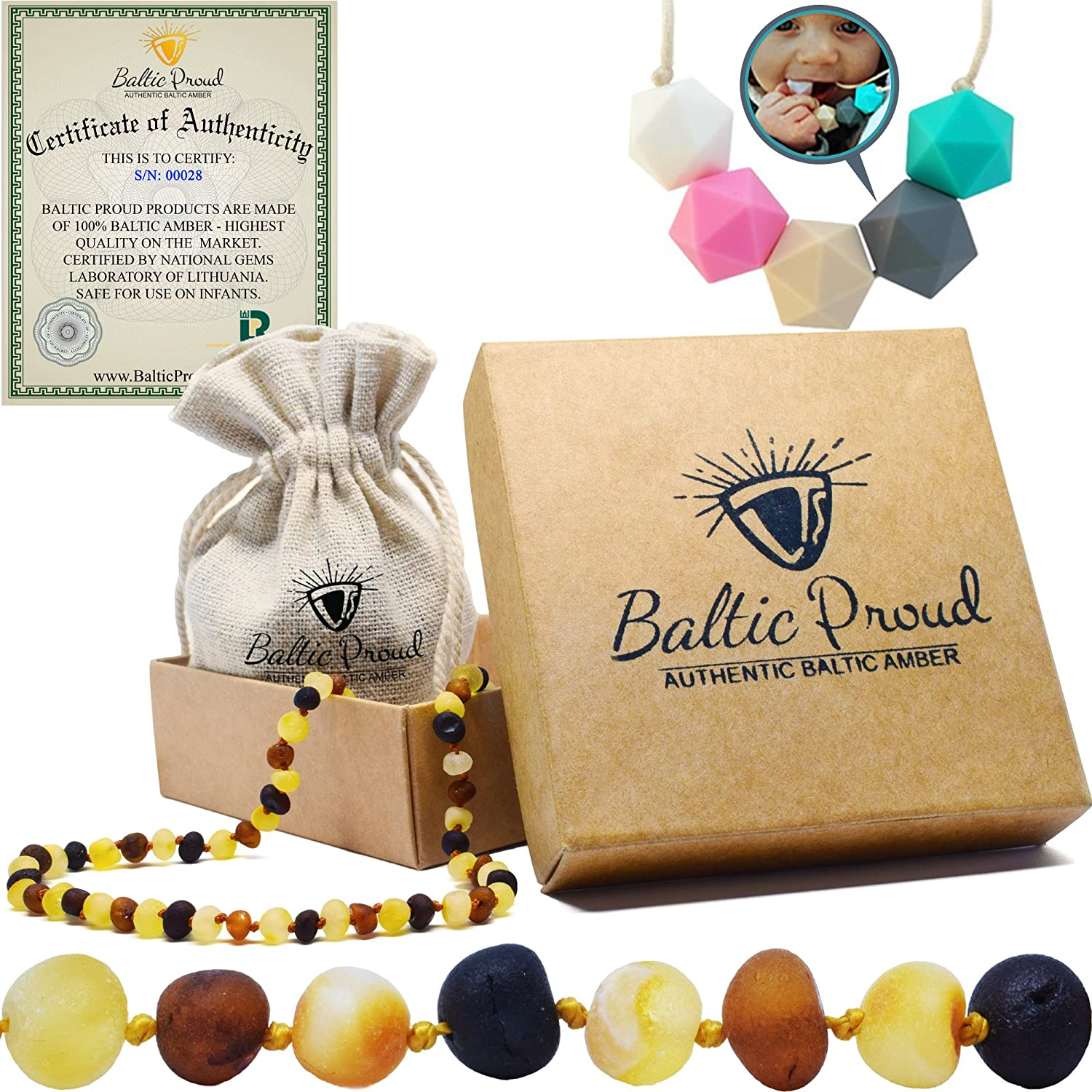 Amber Teething Necklace for Babies Gift Set (Unisex) + Silicone Teething Necklace - Anti Inflammatory, Natural Drooling and Teething Pain Relief, Highest Quality, Authentic Baltic Jewelry (Honey Raw) Baltic Proud