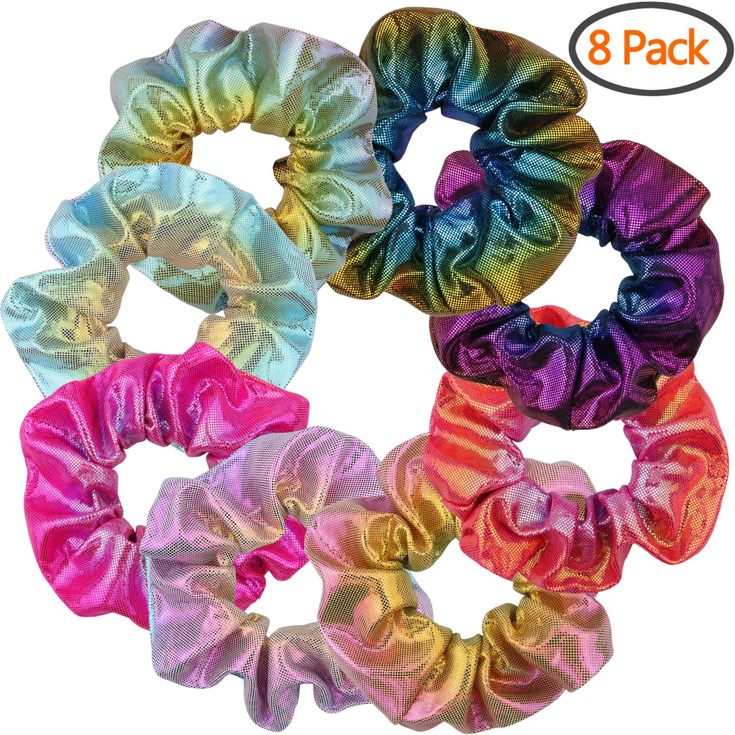 Shiny Metallic Scrunchies, BETITETO Women Girls Mermaid Hair Scrunchie Elastics Ponytail Holder for Gym Dance Party Club, Set of 8 by BETITETO (Image #1)