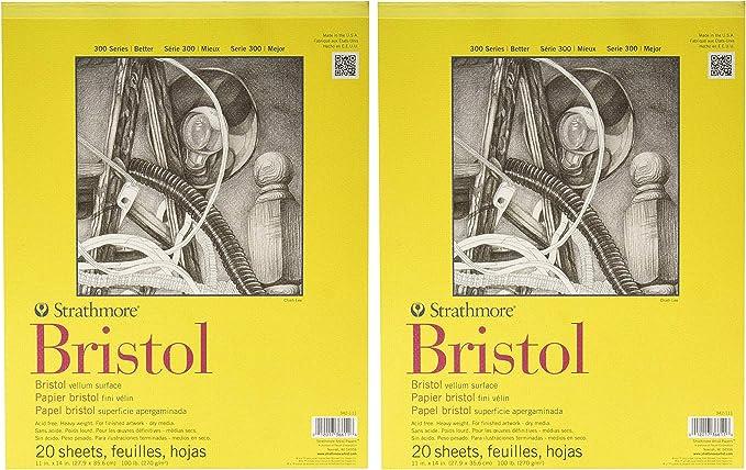 Strathmore 300 Series Bristol Pad 3 Pack 20 Sheet Pad 11-Inchx14-Inch