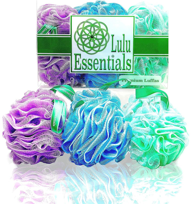 Lulu Essentials Premium Quality Loofah Multi - Color (6 Pack) Bath and Shower Sponge, Mesh Pouf Body Luffa Scrubber Puff