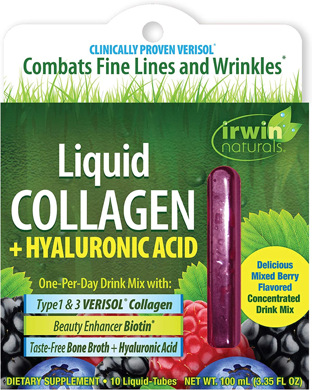 Irwin Naturals Liquid Collagen + Hyaluronic Acid with Biotin + Advanced Wrinkle Combating Verisol Type 1 & 3 Taste-Free Bone Broth - Mixed Berry Flavor - 10 Liquid Tubes