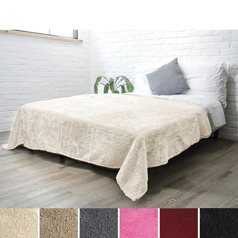 Amazon.com: PAVILIA Luxury Sherpa Twin Size Bed Blanket   Fluffy ...