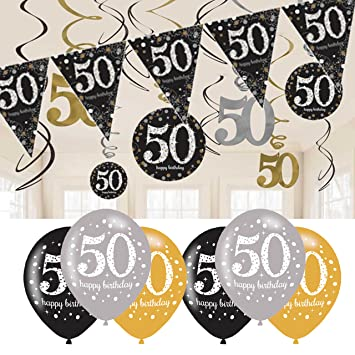 50th Birthday Decorations Black And Gold Bunting Balloons Hanging