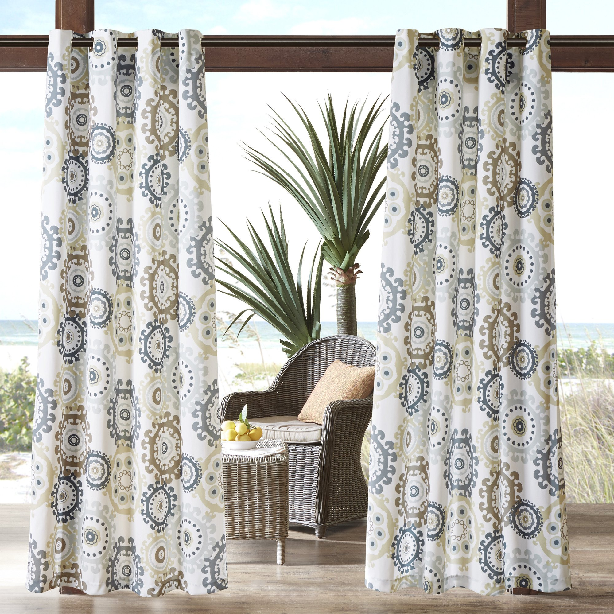1 Piece Neutral Medallion Gazebo Curtain Panel 84 Inch, Gray Floral Print Outdoor Curtain Light Blocking For Patio Porch, Water Resistant Indoor/outdoor Drape Pergola Garden Sunroom Grommet, Polyester