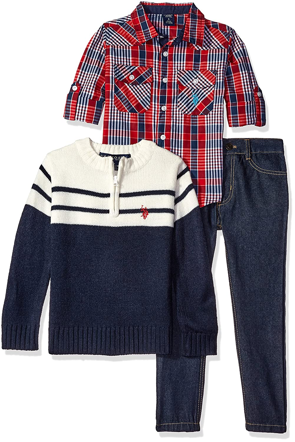 U.S. Polo Assn. Boys' Plaid Sport Shirt, 1/4 Zip Mock Neck Collar Color Blocked Sweater and Denim Jean 0011