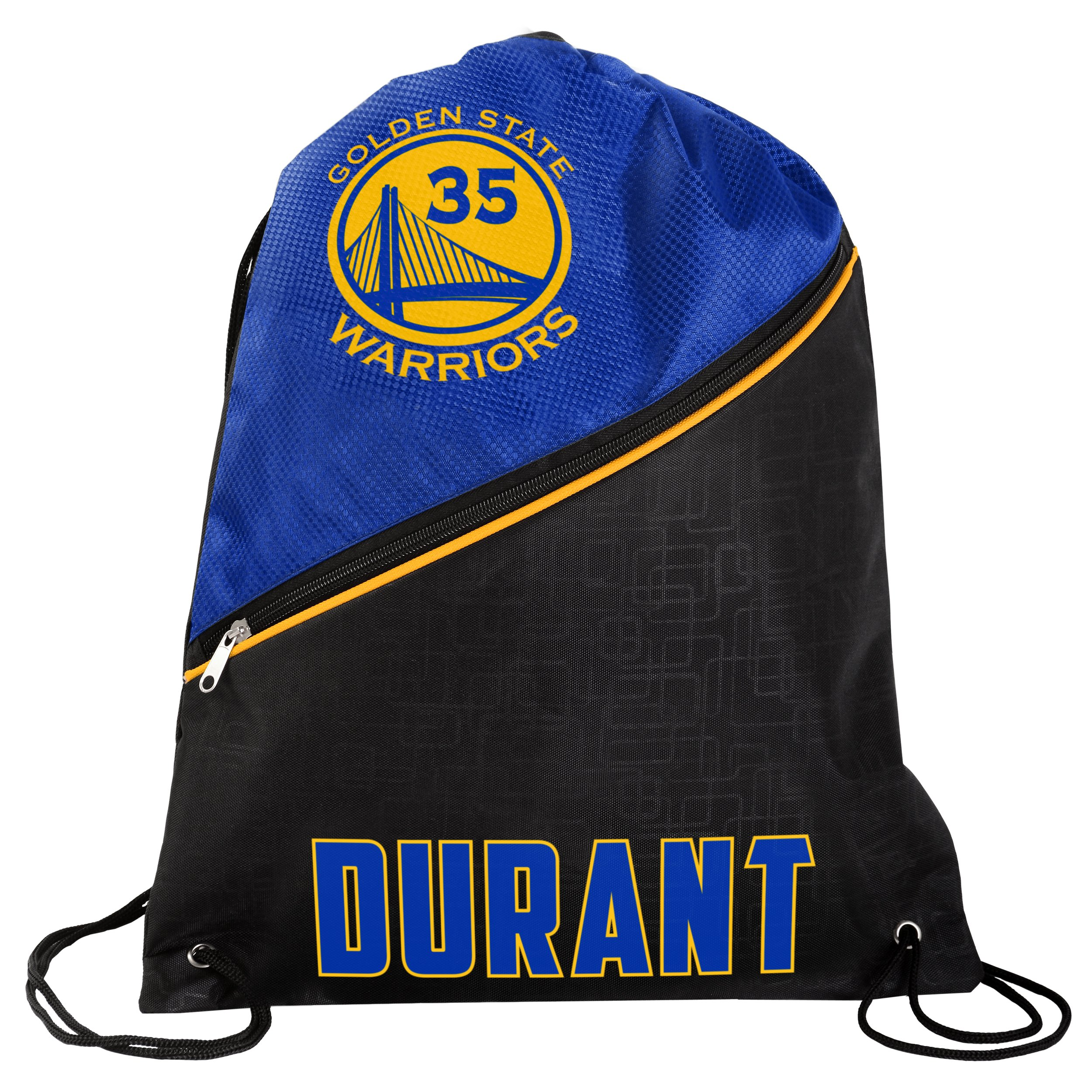 FOCO Golden State Warriors High End Diagonal Zipper Drawstring Backpack Gym Bag - Kevin Durant #35 by FOCO