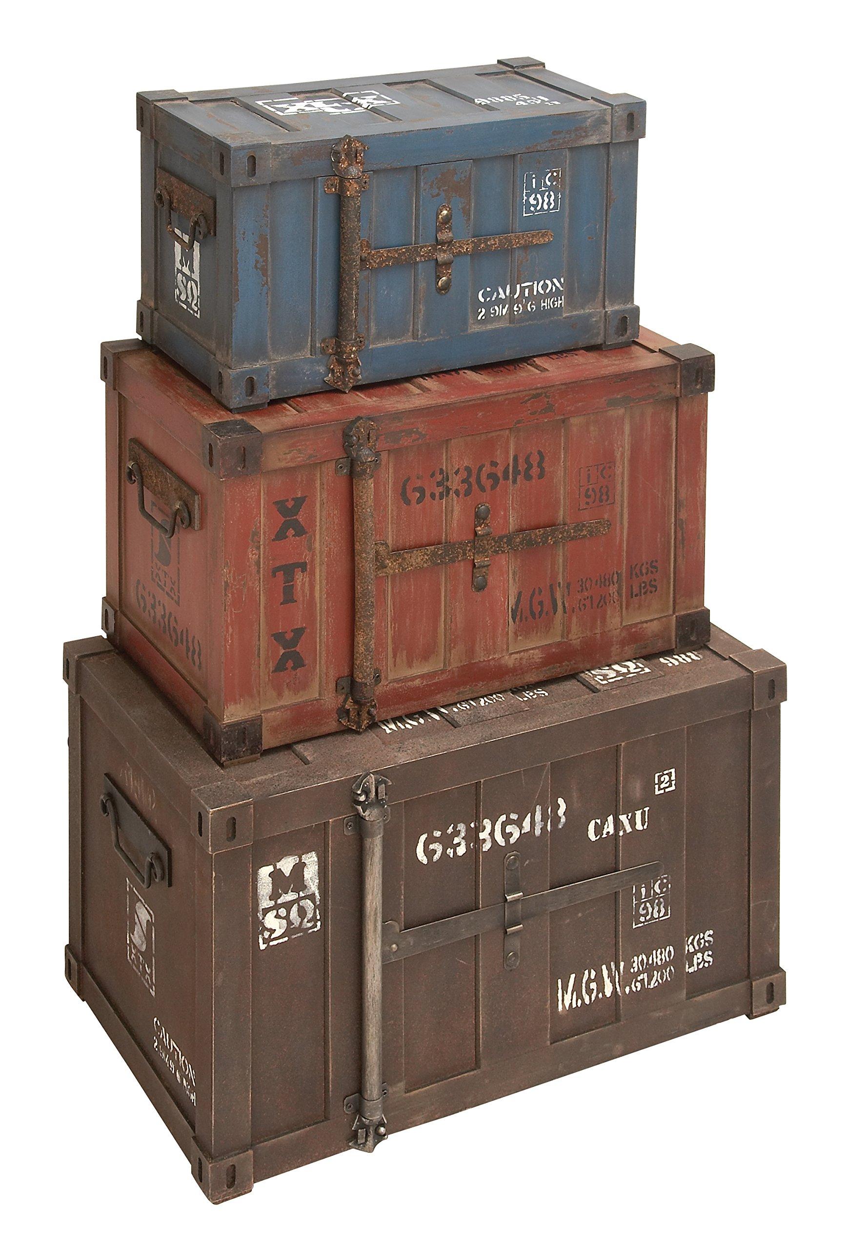 Deco 79 69225 Wood Trunks (Set of 3), 27''/24''/20'', Multicolor