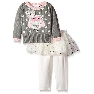 Bonnie Baby Baby-Girls Owl Intarsia Sweater to Mesh Skirt Skegging Set