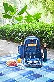 WoodLuv Sac à dos à pique-nique de luxe pour 4 personnes avec couverts, tire-bouchon, salière et poivrière, assiettes, verres, nappe de pique-nique étanche, compartiment glacière et refroidisseur à vin