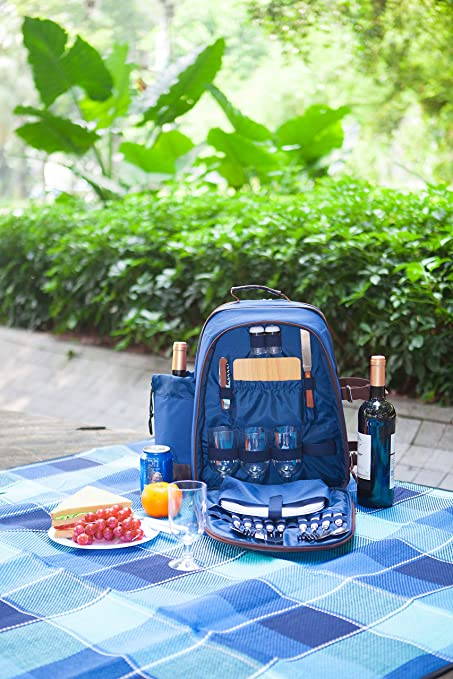 Woodluv - Mochila para picnic con cubertería, sacacorchos, salero y pimentero, platos,