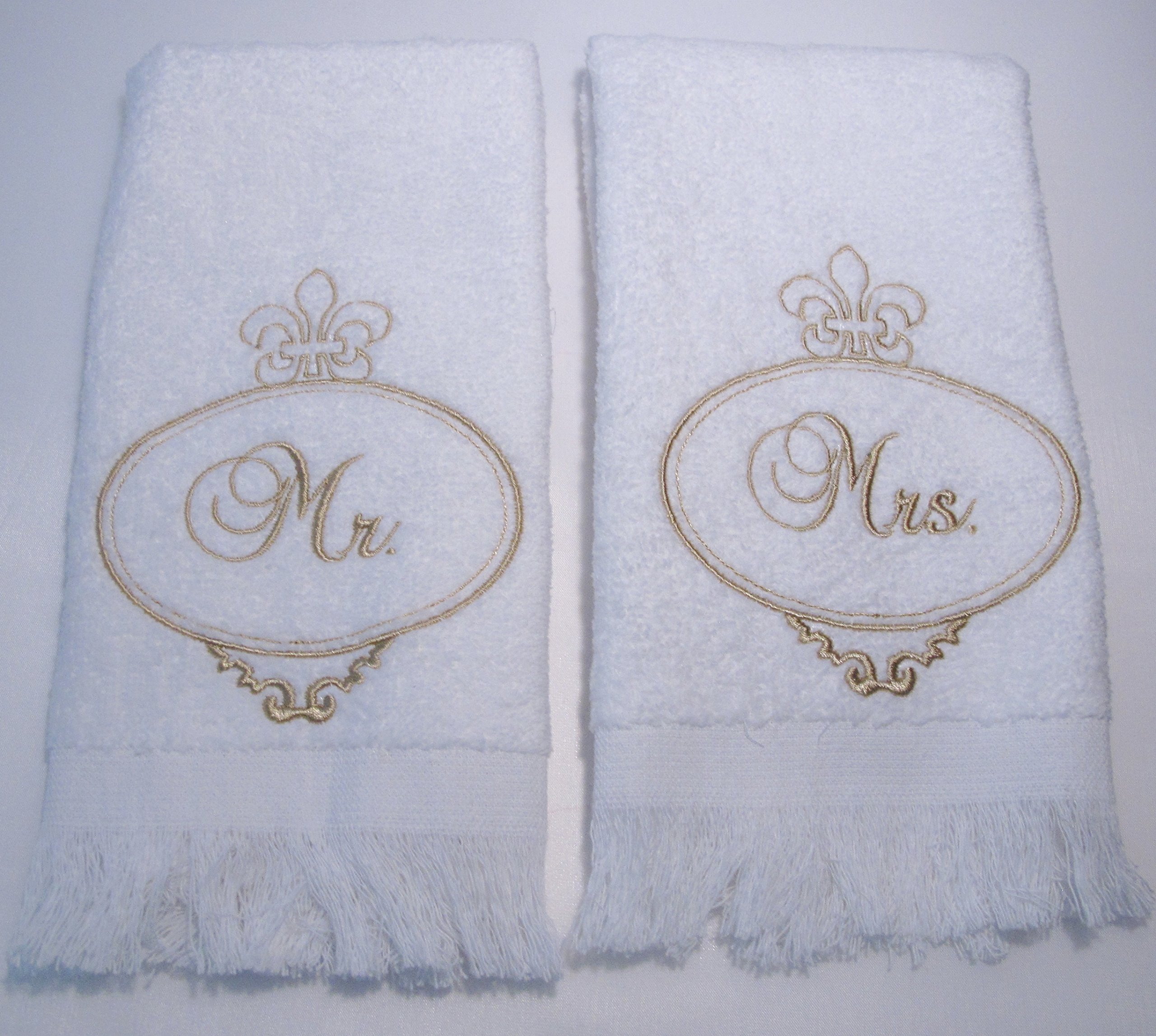 MR & MRS TOWEL SET (GOLD) EMBROIDERY ~ WEDDING GIFT