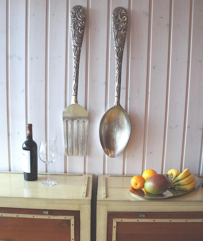 Cubiertos de Pared XXL Baptiste 2 Piezas, Tenedor y Cuchara de Aspecto Antiguo, Gigante Decoración de Pared de Aluminio Pulido, decoración de Cubiertos de ...