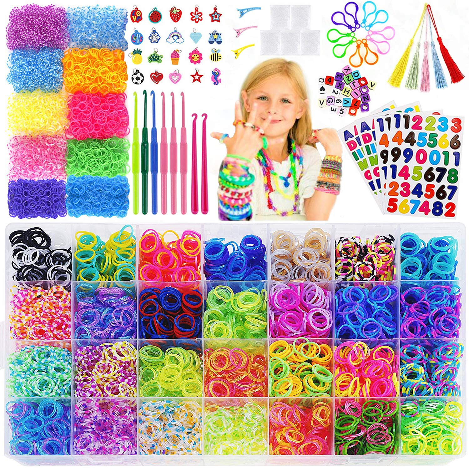 15,000+Rainbow Rubber Bands Refill Kit-56 Unique Colors Bracelet Making Kit,14,000 Premium Loom Bands,500 S Clips,25 Beads,20 Charms,10 Backpack Hooks,8 Crochet Hooks,5 Tassels,4 Stickers,3 Hair Clips 91E2BZYZ2dQL