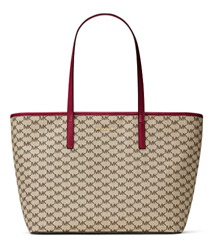 f886a2ad102d Amazon.com: Michael Kors MICHAEL Emry Large Top Zip Tote- Natural / Cherry:  Shoes