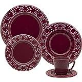 1 Aparelho de Jantar e Chá 30 Peças Oxford Daily Mendi Corvina Vinho
