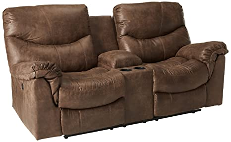 Groovy Ashley Furniture Signature Design Alzena Power Recliner Loveseat With Console 1 Touch Power Reclining Gunsmoke Cjindustries Chair Design For Home Cjindustriesco