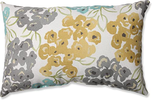 Pillow Perfect Luxury Floral Pool Rectangular Throw Pillow,Aqua grey Yellow