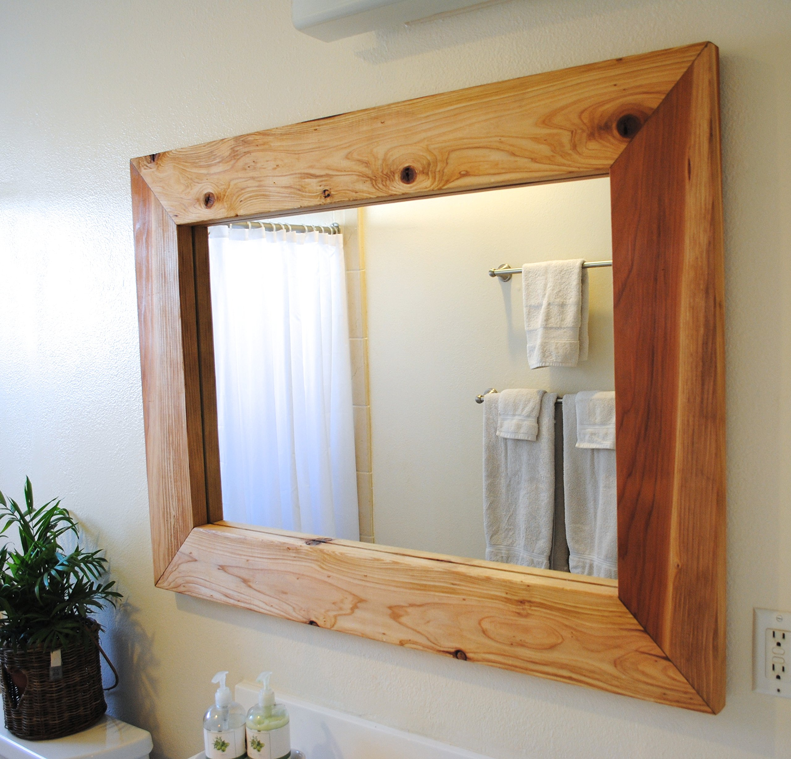 Large mirror, wooden frame mirror, W 46'' / D 1.5'' / H 34'', Rustic Mirror, Red wood, Solid wood mirror by That Dutch Girl (Image #1)