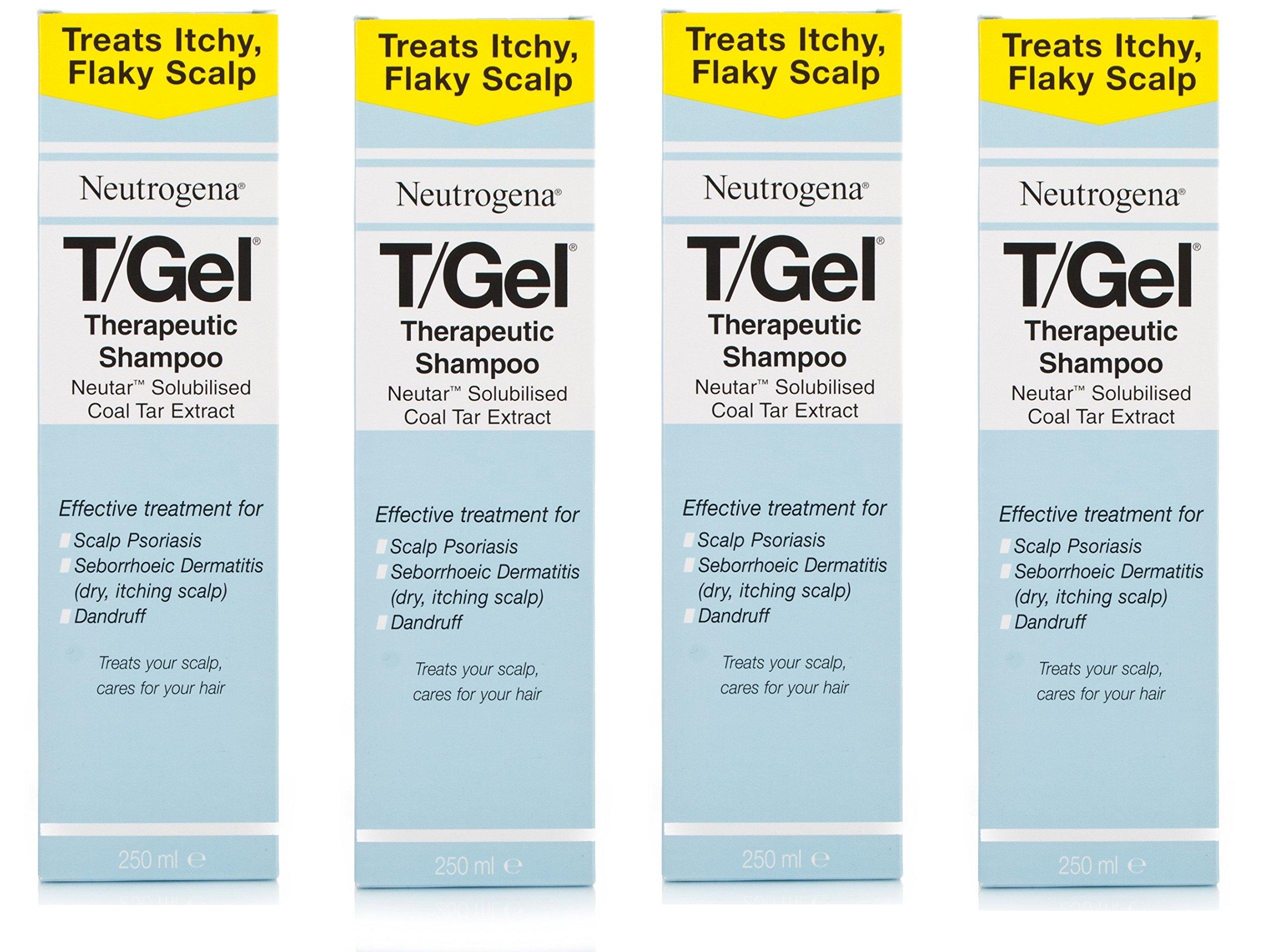 4 x 250mL Neutrogena T/Gel Therapeutic Shampoo TREATS ITCH FLAKY SCALP