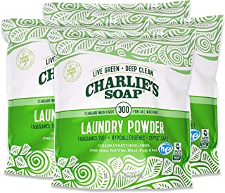 product image for Charlie's Soap Laundry Powder (300 Loads, 4 Pack) Hypoallergenic Deep Cleaning Washing Powder Detergent – Eco-Friendly, Safe, and Effective