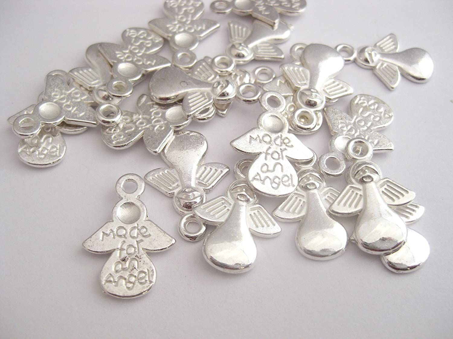 12 Tibetan Silver Angel ' Made for an Angel 'Charms 17.5mm x 13mm. CH001 Enchanted Jewels