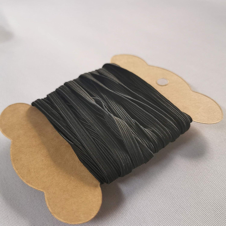 Eurohome 10M Gummib/änd Seil Schwarz 5 mm Flache Elastische f/ür DIY N/ähen und Handwerk