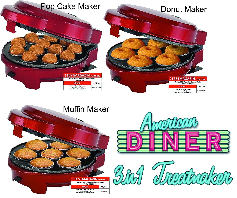 Melissa 3in1Donut Muffin e Popcake Maker 3piastre intercambiabili, Rosso Metallizzato 16250075