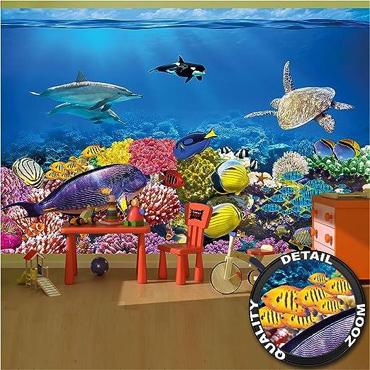 Childrens Room Wall Mural Wallpaper Aquarium Mural Wallpaper Decoration Underwater World Sea Dweller Ocean Fishes Dolphin Turtle Coral Reef