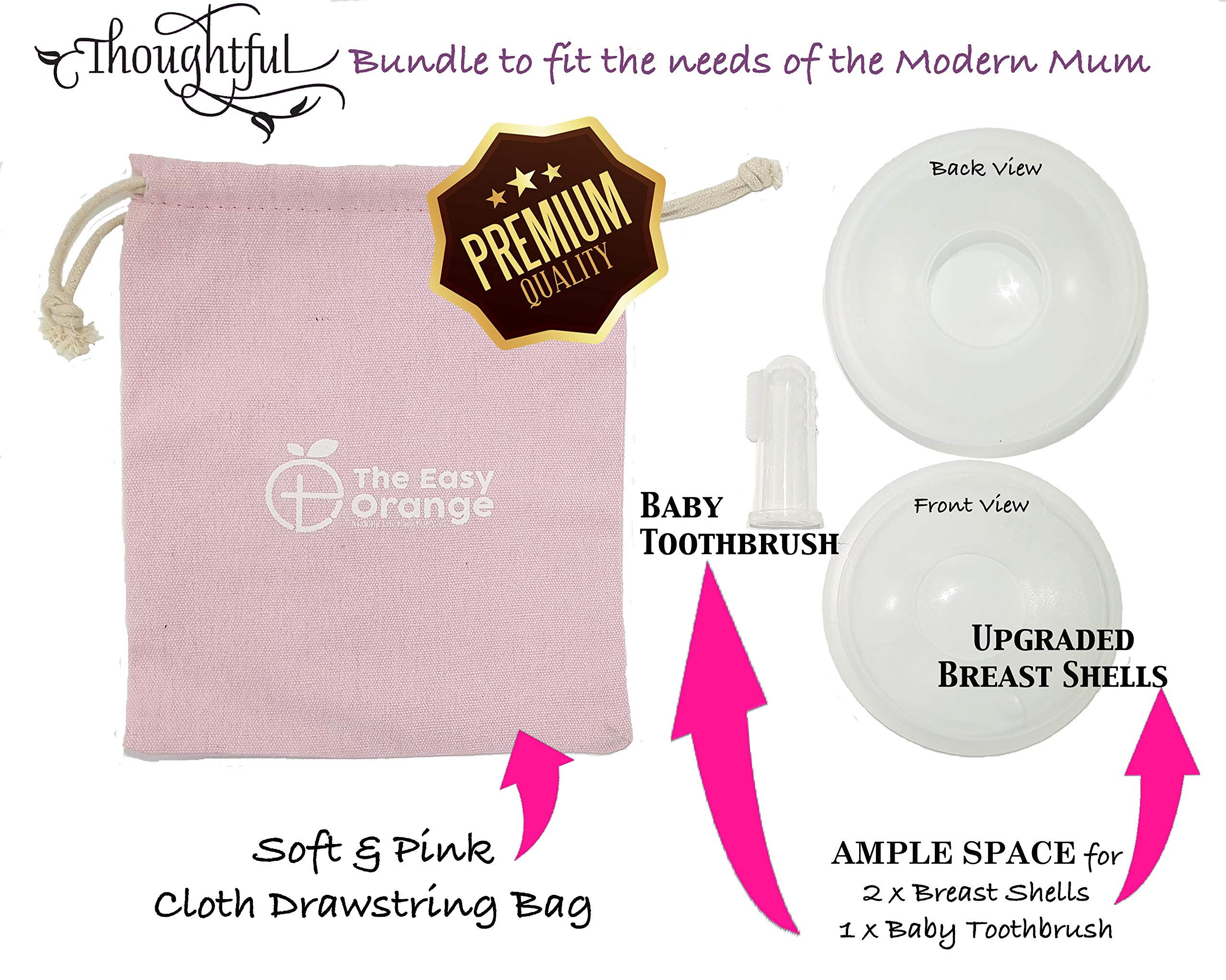 Breast Shells by The Easy Orange | Best Thoughtful Bundle with Free Drawstring Bag & Baby Toothbrush