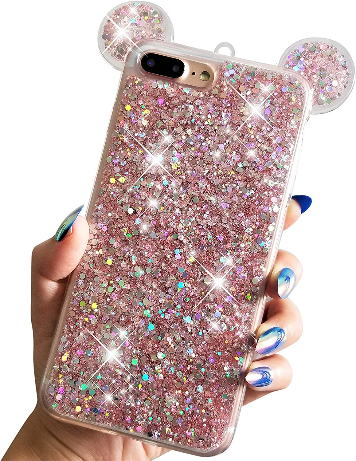 "for iPhone 7 Plus 5.5"" for iPhone 8 Plus 5.5"" Soft TPU Holographic Dots Minnie Mickey Ears Shiny Glitter Disney Back Cover Case (Pink)"