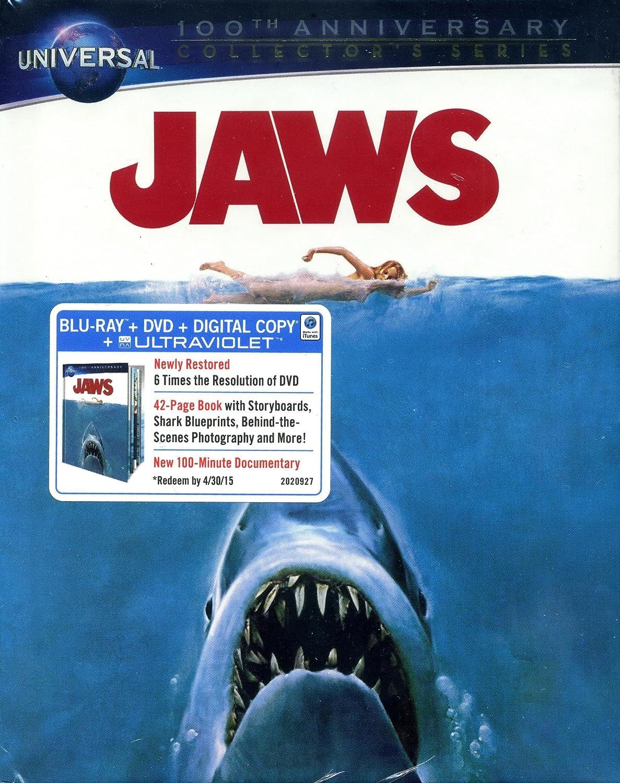 Amazon.com: Jaws (Universal 100th Anniversary DigiBook Edition) [Blu-ray +  DVD + Digital Copy + UltraViolet]: Richard Dreyfuss, Roy Scheider, Robert  Shaw, ...