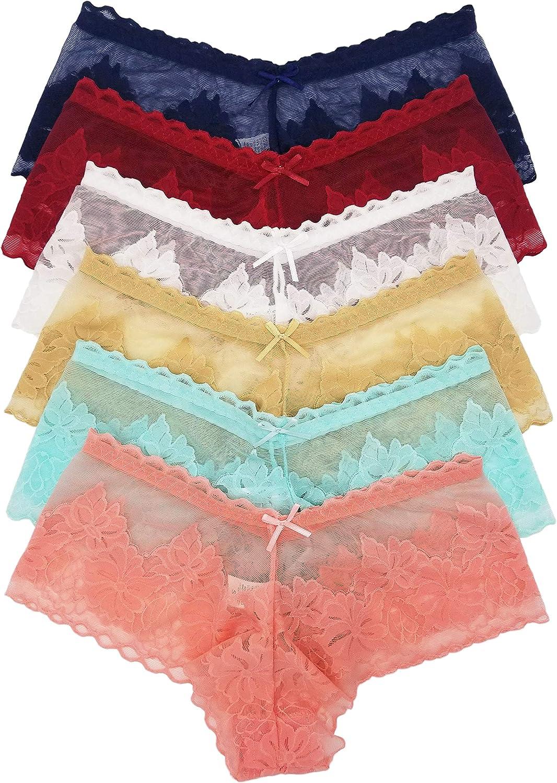 6 Pack Women/'s Floral Lace Underwear Panties Hipster Boyshorts Sheer Mesh S M L