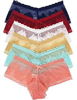ed7559883e0 Vision Underwear 6 Pack Sexy See-Through Floral Lace Boy Shorts Panties L818